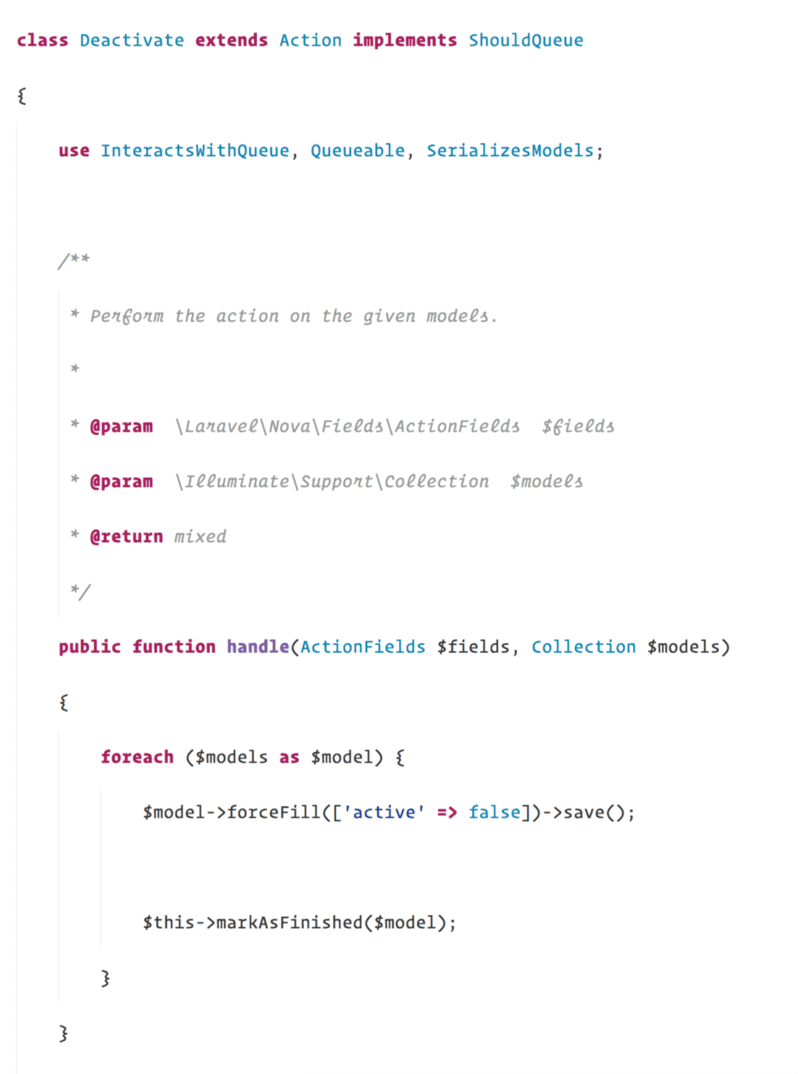 laravel nova actions